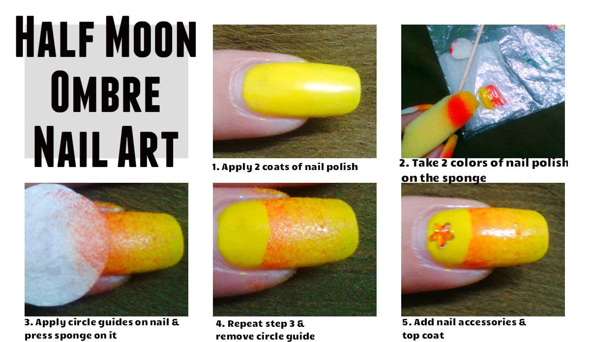 Half moon ombre nail art