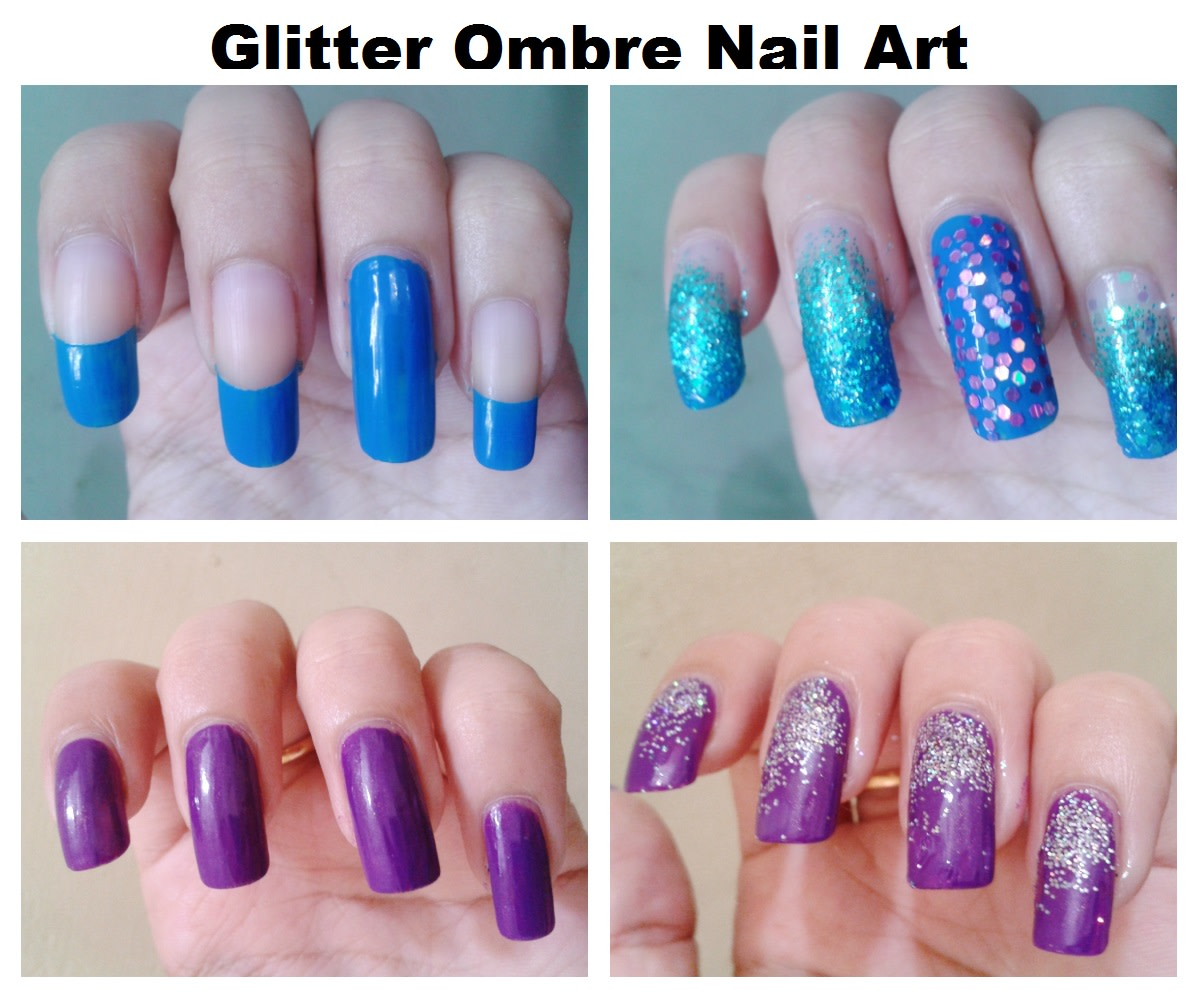 Glitter ombre nails. The base colors can be seen on the left; the final nails are on the right.