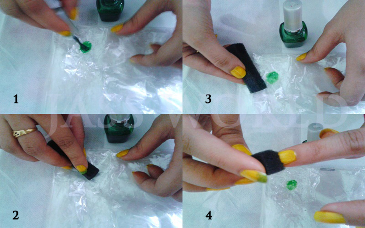 Step by step Yellow Green Ombre Nail art