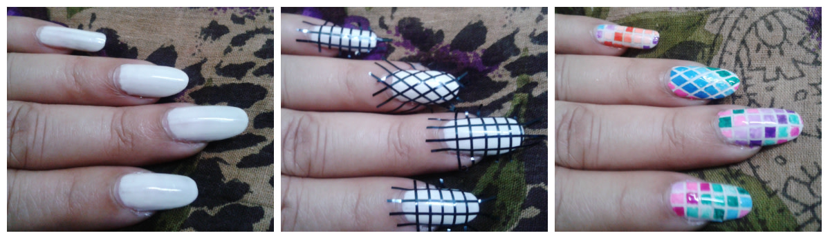 Checkered ombre nail art