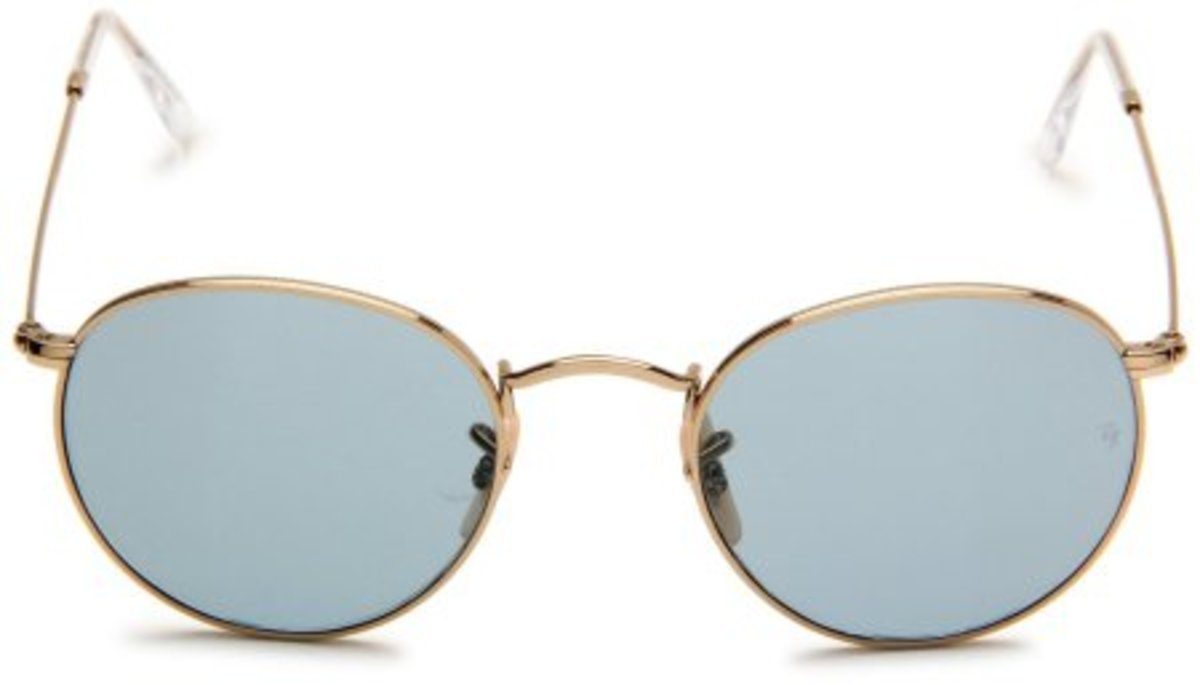 Ray-Ban 0RB3447 Round Sunglasses,Gold FrameSky Blue Lens