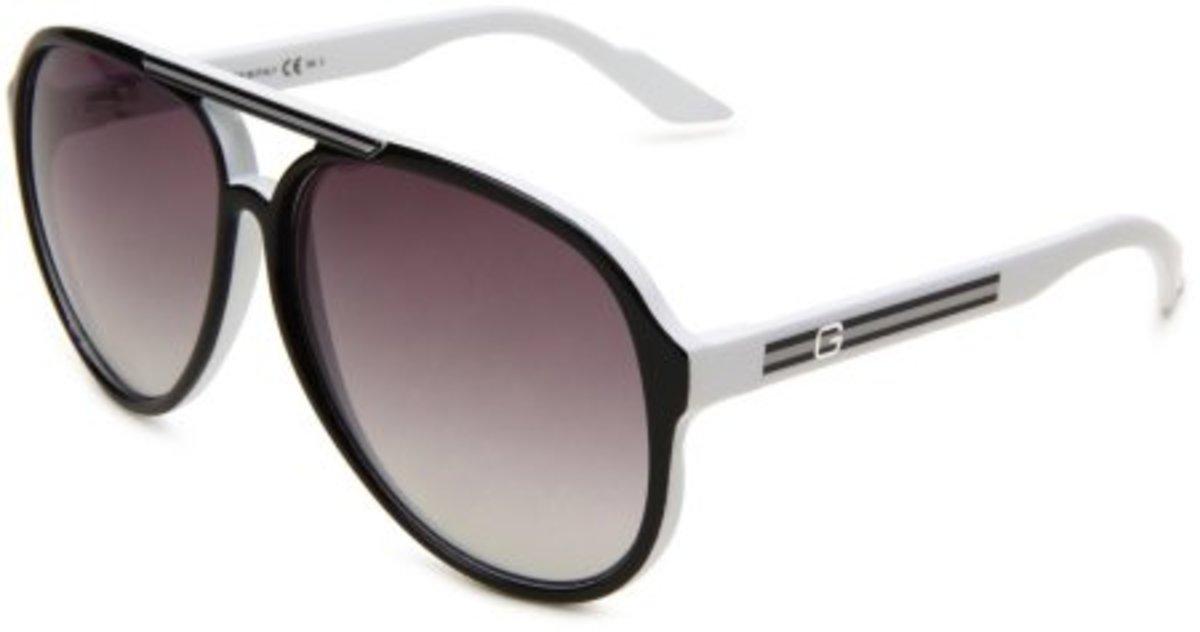 Gucci Men's 1627 Shiny Black Frame Grey Gradient Lens sunglasses