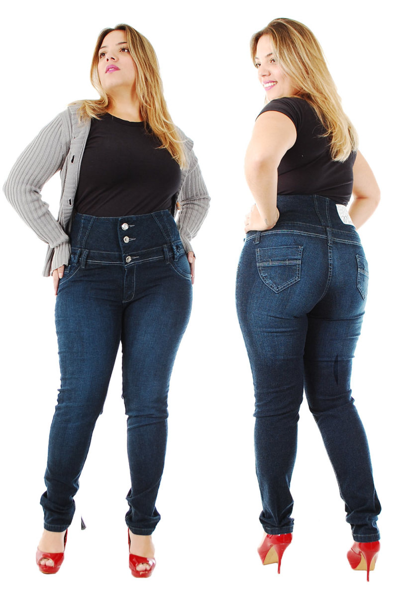 High-waisted jeans can conceal a muffin top.