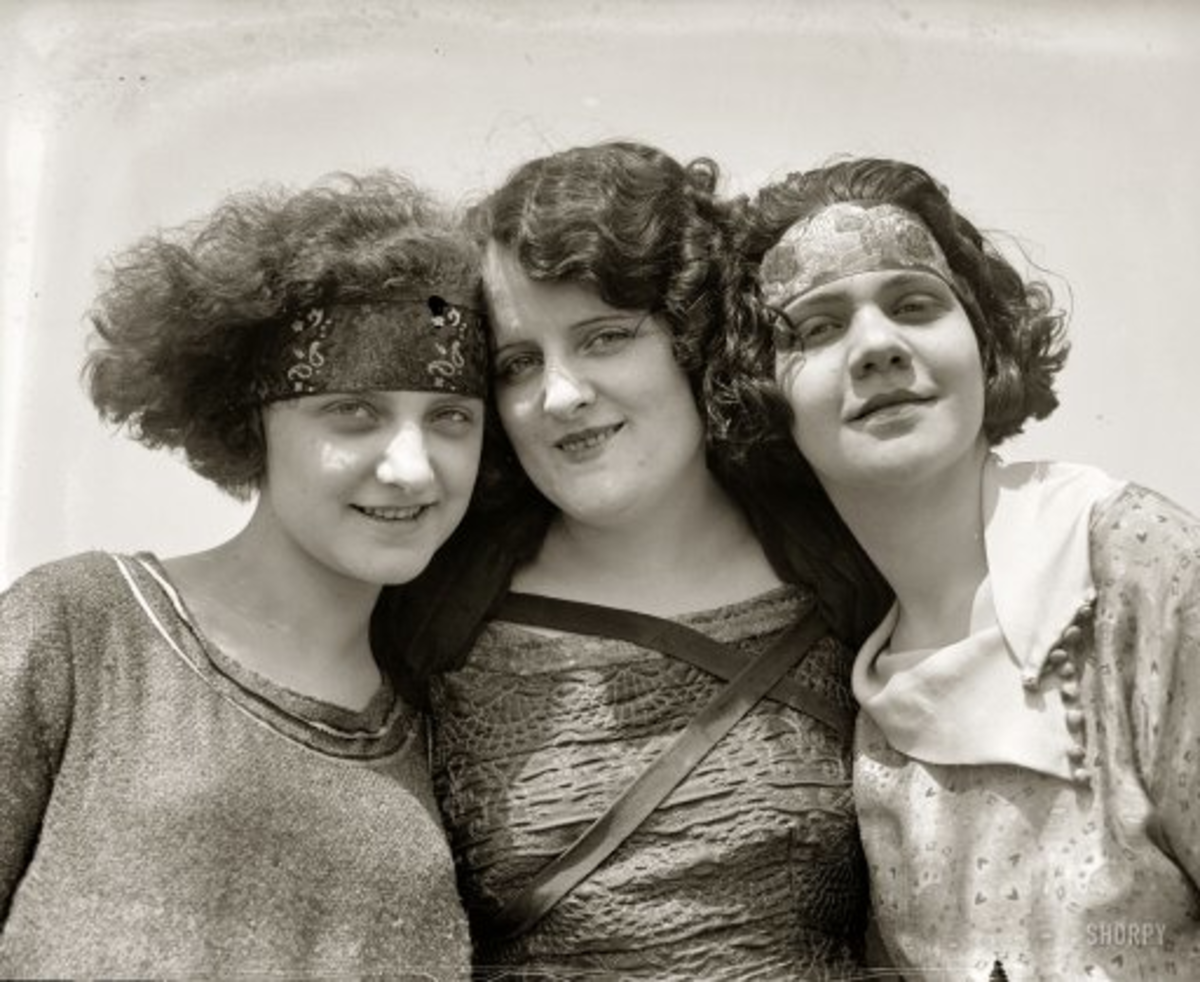Flapper Girls with 1920s hair.