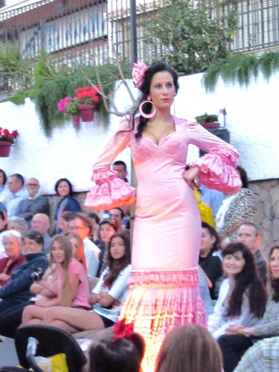 A flamenco fashion parade in my adopted town, Estepona, Andalusia, Spain