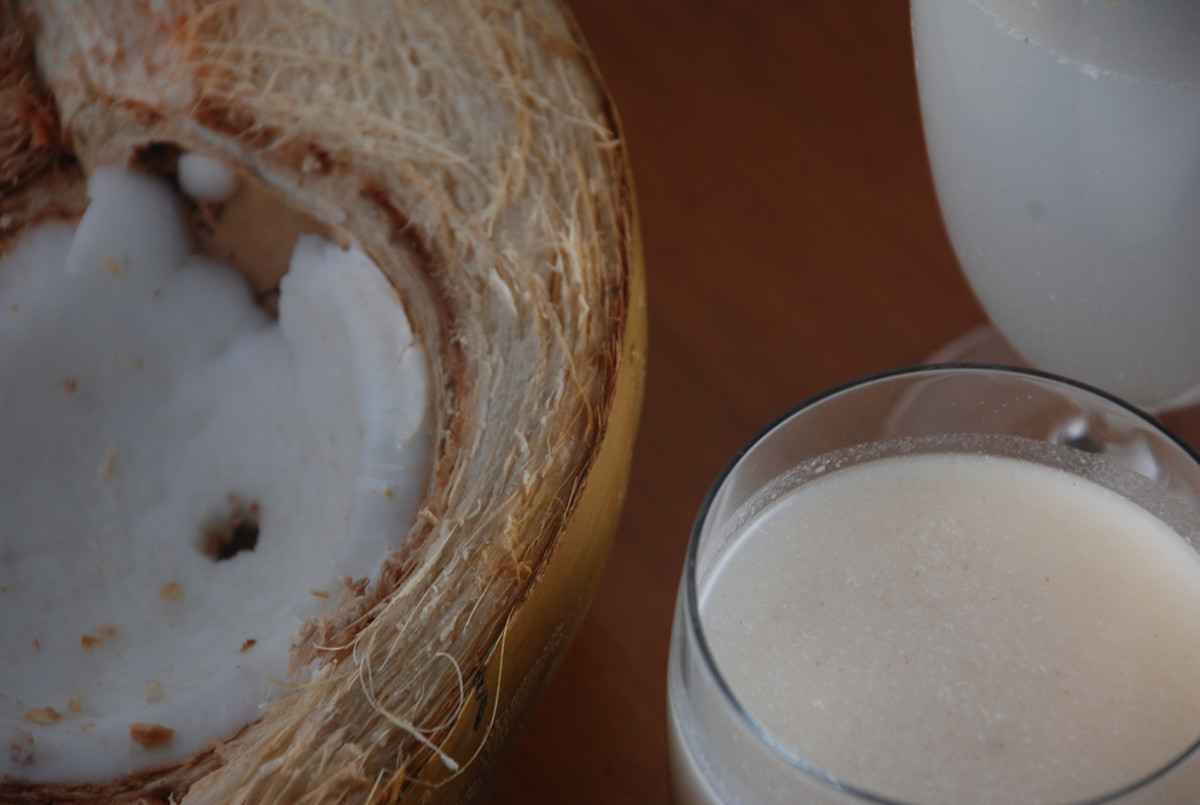 coconut meat, milk and water
