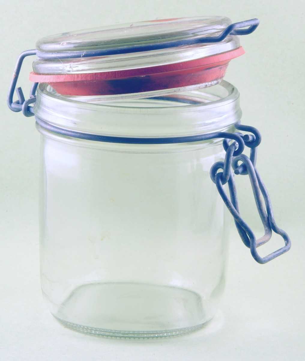 recycle old jam jars, sauce jars or baby food jars.clean and sterilize before using.