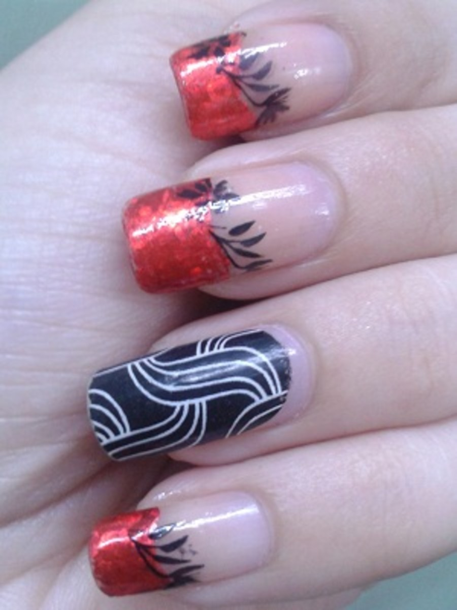 Red Transfer Foil Nail Art with Stamping and Nail Strips
