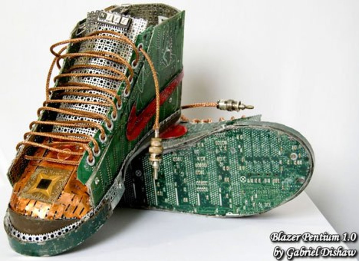 Not a bad upcycling idea if all you have to hand is old sneakers and ancient computers.