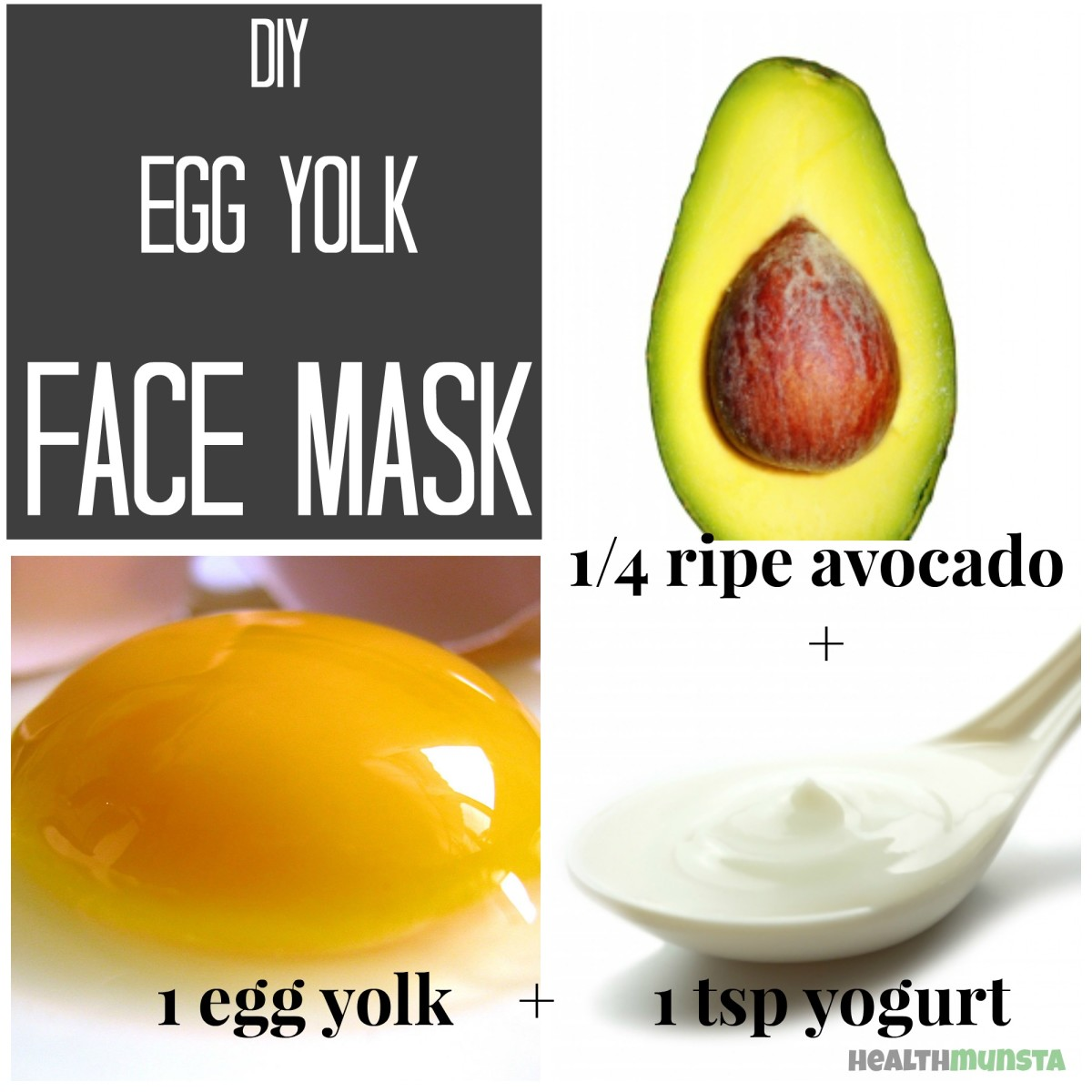 Nourishing egg yolk face mask for all skin types with avocado and yogurt.