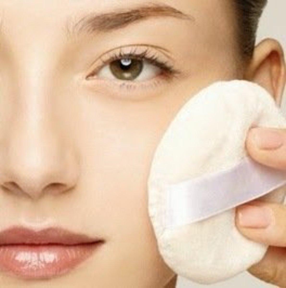 Apply Matte Oil-Absorbing Face Powder