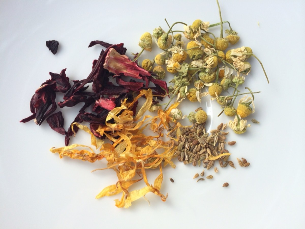 Dried flowers and herbs used to make lip balm include (clockwise from top right) german chamomile, anise seeds, calendula and hibiscus.
