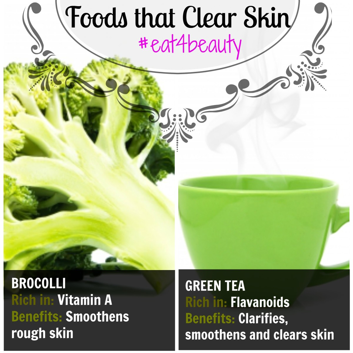Broccolli & Green tea - Foods to eat for smooth clear skin.
