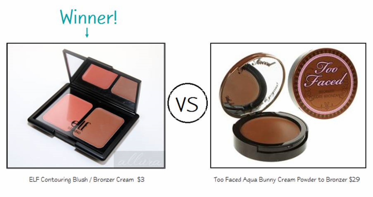 ELF Studio Contouring Blush & Bronzer Cream vs. Too Faced Aqua Bunny Cream to Powder Bronzer