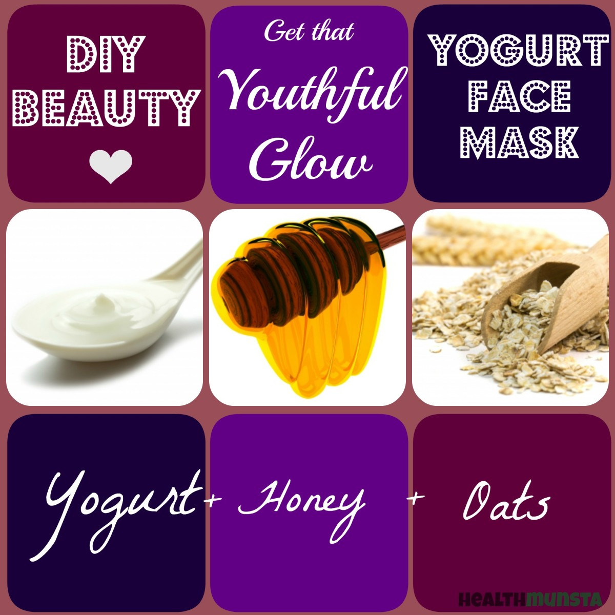 Got fine lines, wrinkles or dull skin that looks years older than you are? Yogurt + Honey + Oats, this is your recipe for a rejuvenating face mask!