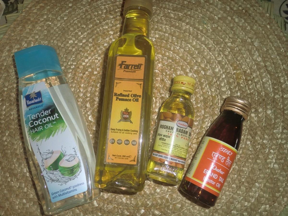 Coconut Oil, Olive Oil, Almond OIl and Castor Oil