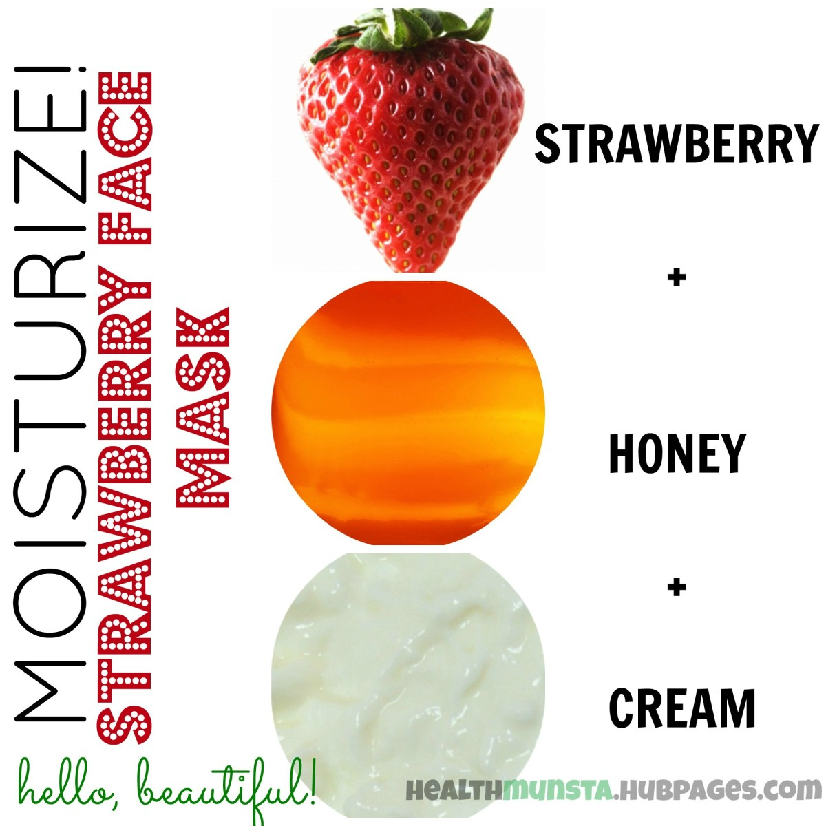 Mix strawberry, honey and cream to make an incredibly hydrating face mask that will leave your skin moisturized and glowing!