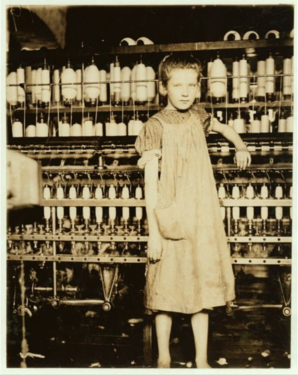 A child working in a textile mill
