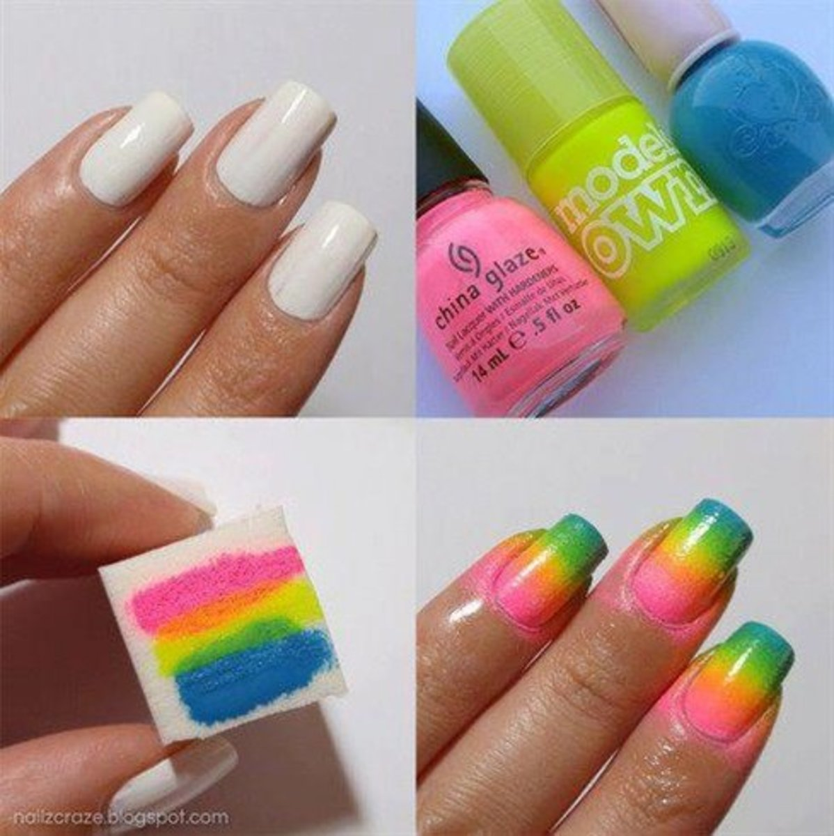 Neon rainbow ombre nails.