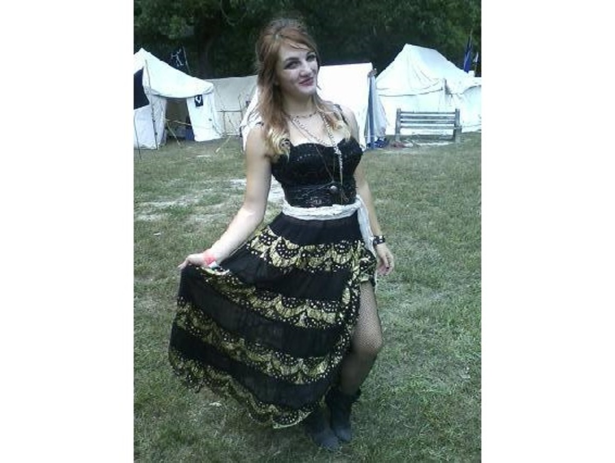 Before bedazzlement. Corset, skirt, and boots all courtesy of granny.