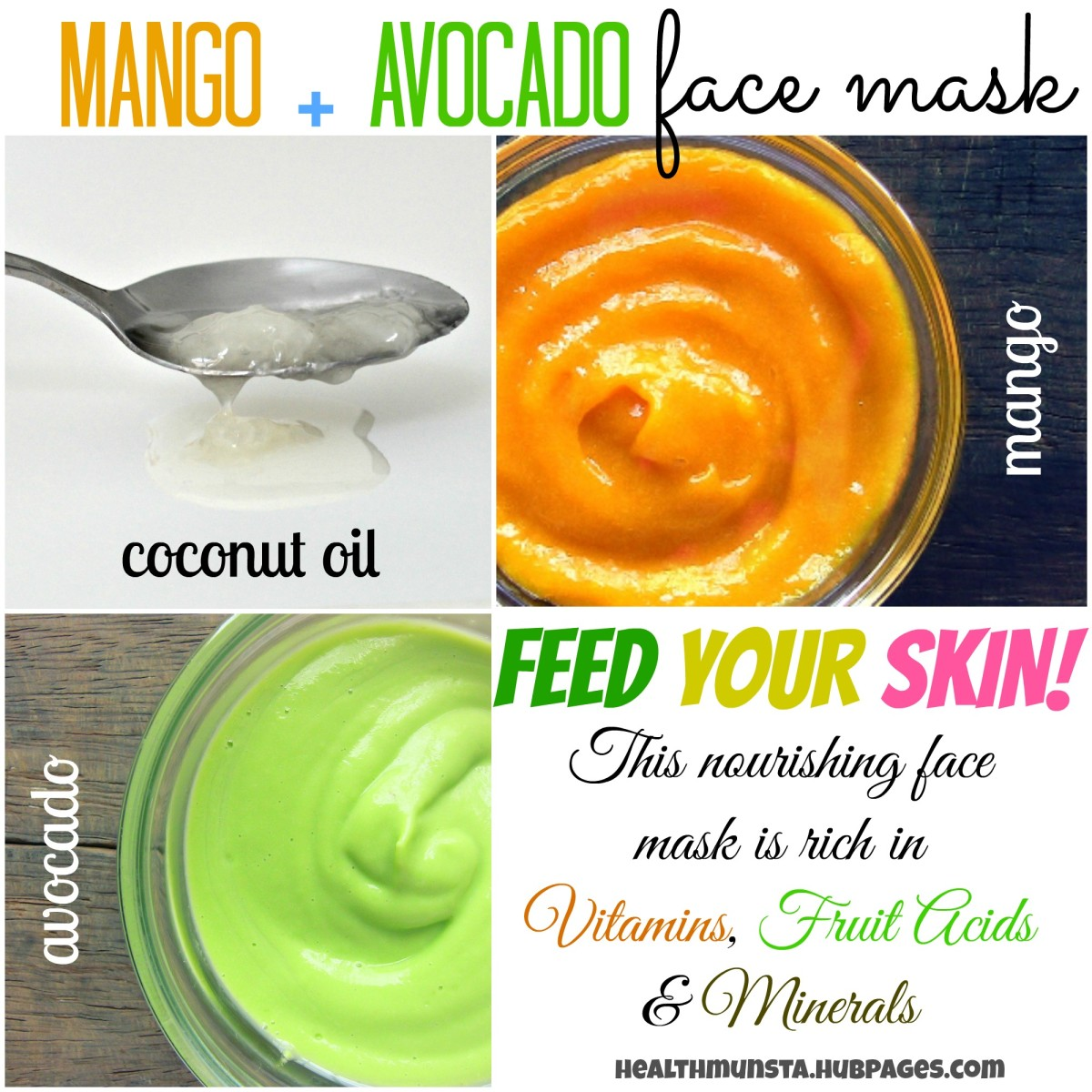 Try this awesome face mask with mango, avocado and coconut oil. Oh God, I never knew mango + coconut oil would smell THIS good!