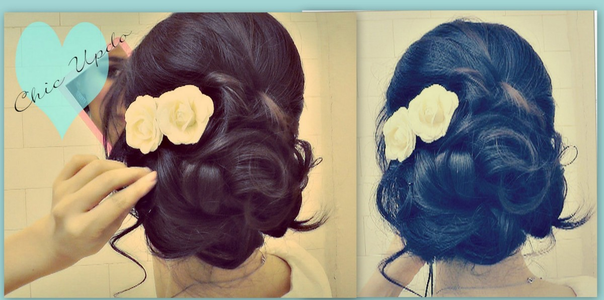 Creative hair bun with flowers.
