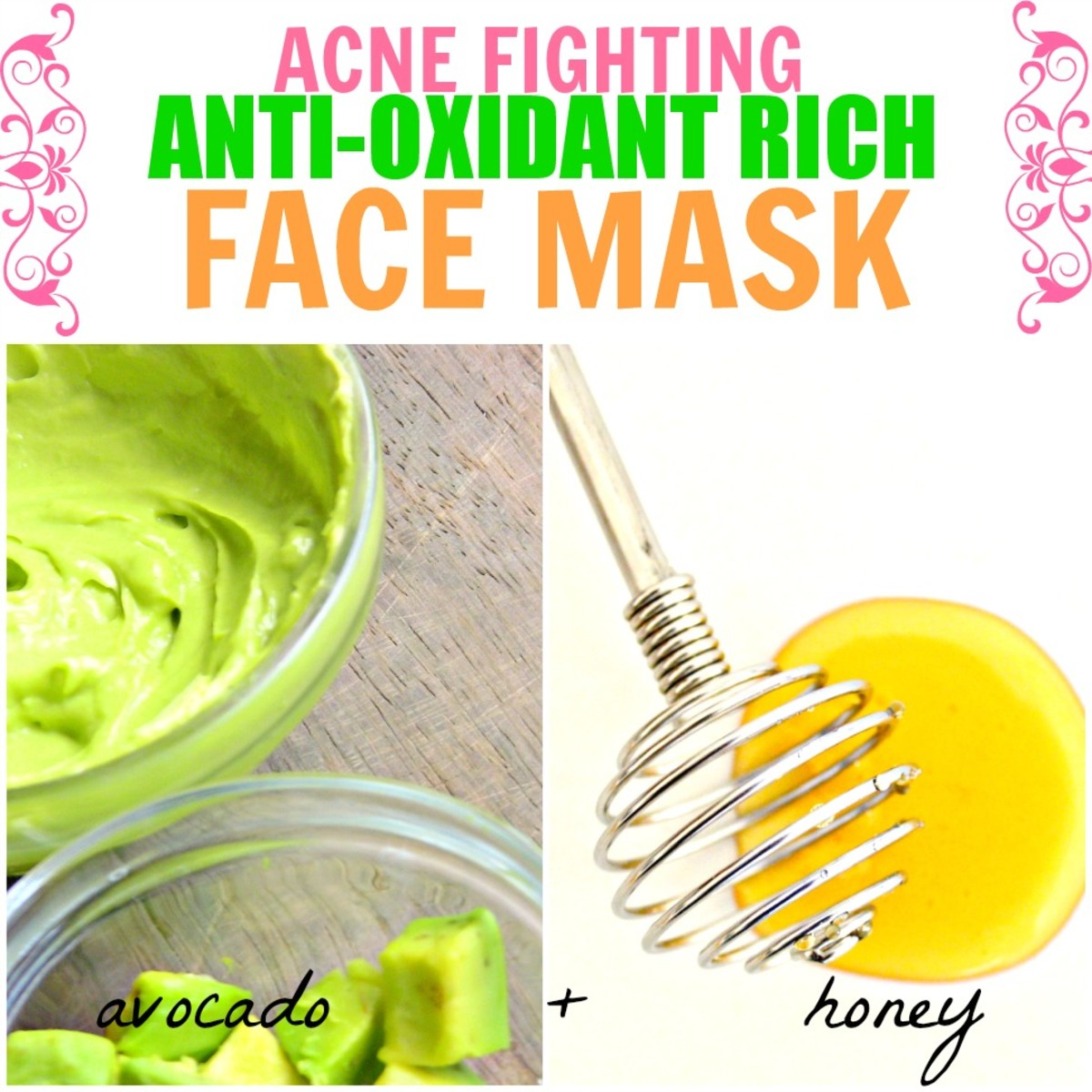 This antioxidant-rich face mask with avocado and honey is great for curing and preventing acne.