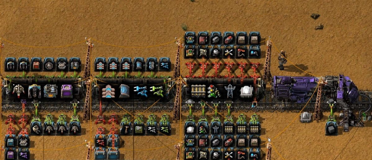 Using Long Handed Inserters to add more types of items to the train