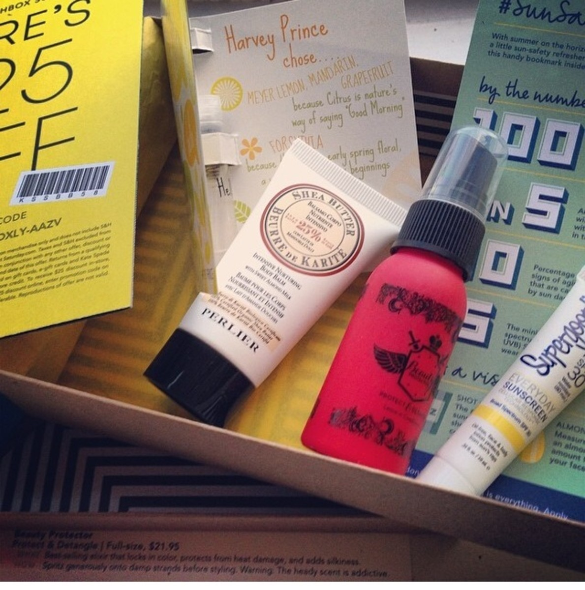 Unboxing the June Birchbox. It had a Kate Spade Saturday gift card for $25. Pretty sweet!