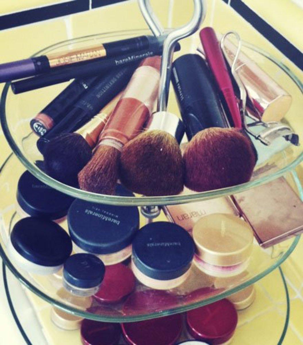 Tiered Platter | DIY Makeup Organization Ideas