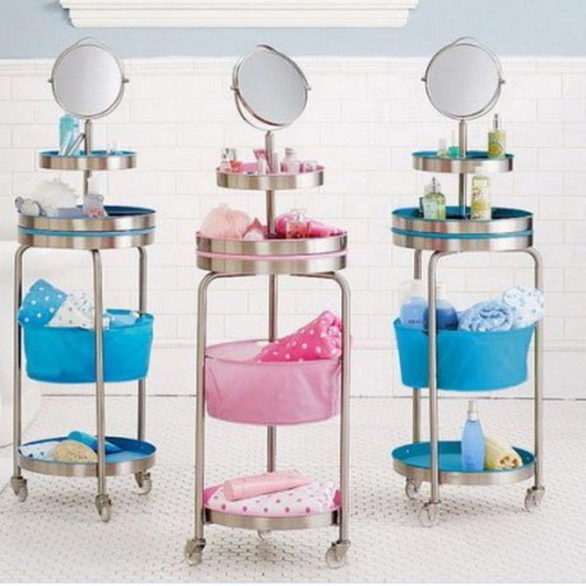 Tiered Trolleys | DIY Makeup Organization Ideas