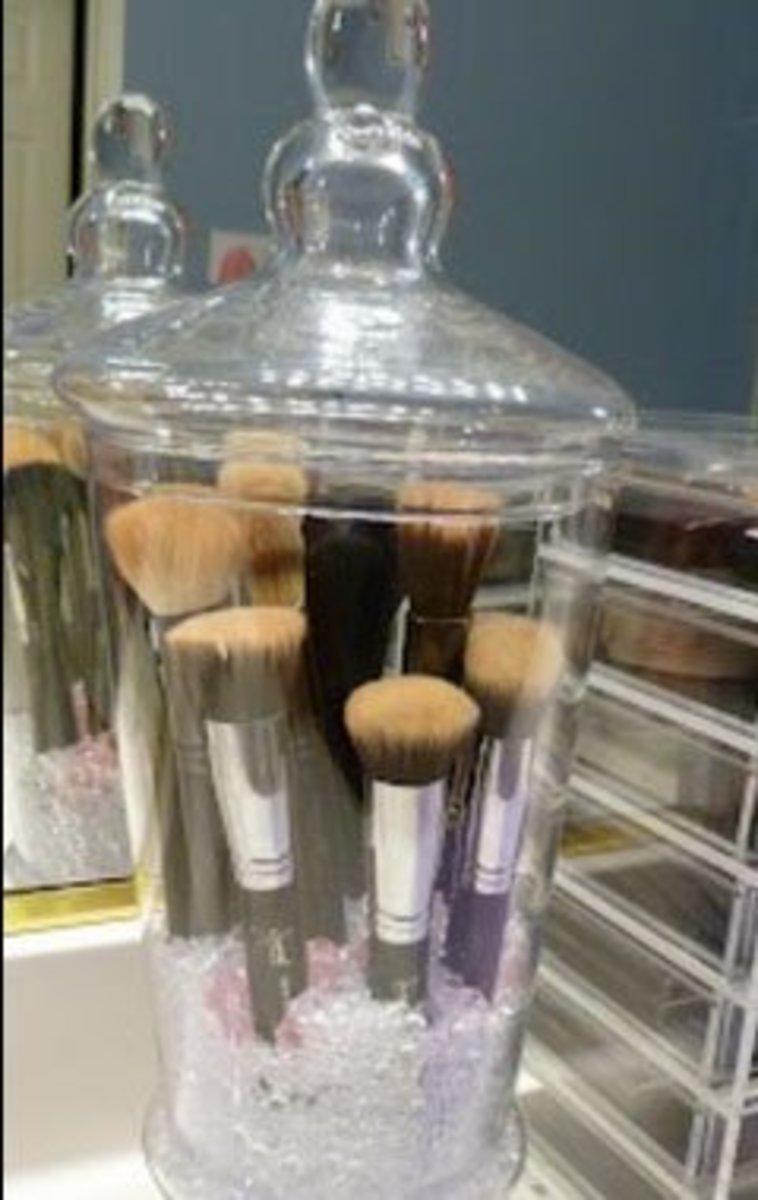 Glass Jars | DIY Makeup Organization Ideas