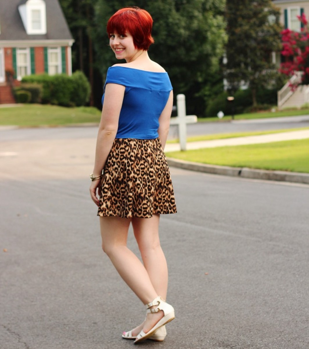 Patterned skater skirt outfit