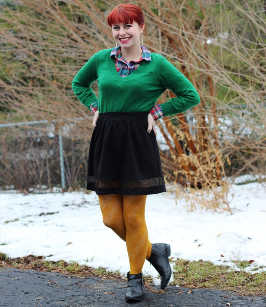 What do you  wear with a black skater skirt?