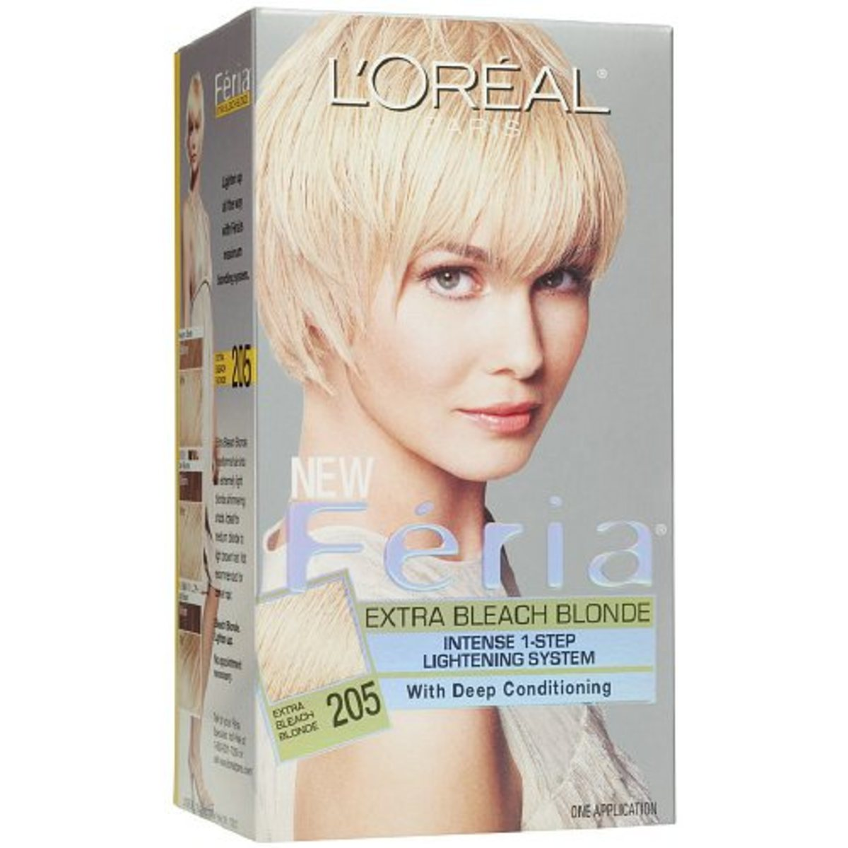 Recommended: Loreal Feria Extra Bleach Blonde 205. This is my favorite bleach kit. It's a great one-step treatment that took my hair from a medium brown to a very light yellow blond.