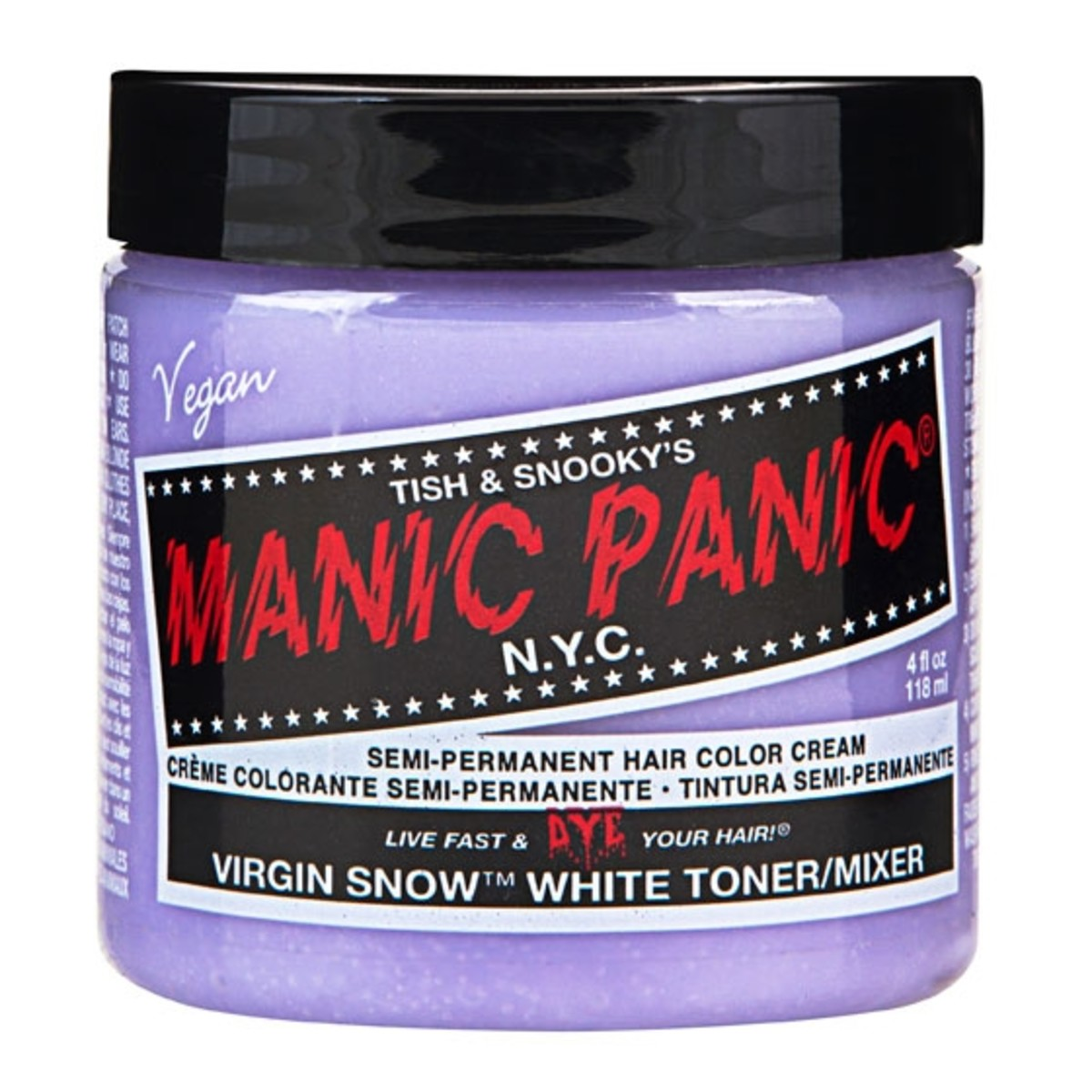 Manic Panic Virgin Snow Toner: a weak purple dye to neutralize orange tones in hair. Save money and create the same effect by mixing purple dye with white conditioner to make a very light purple dye.