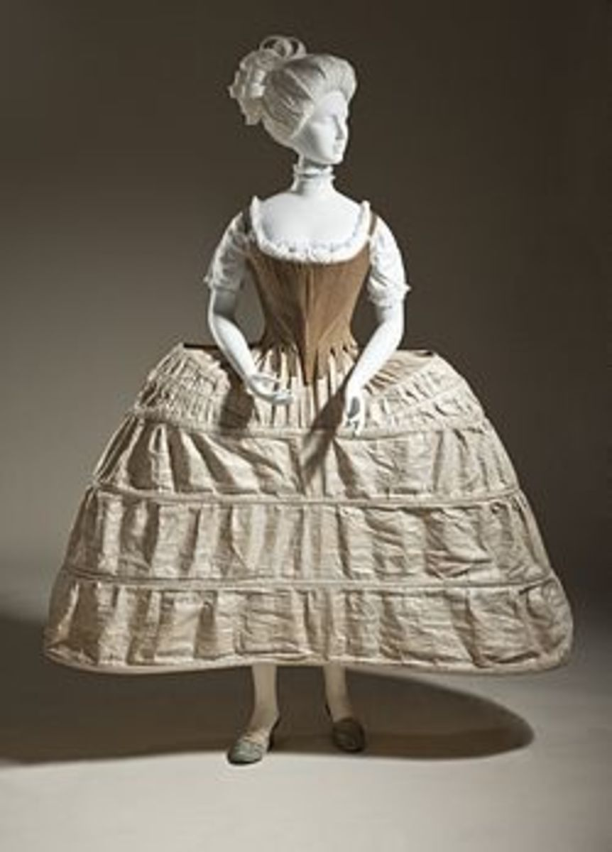 Hoop petticoat or pannier, English, 1750-80. Plain-woven linen and cane. Los Angeles County Museum of Art, M.2007.211.198.