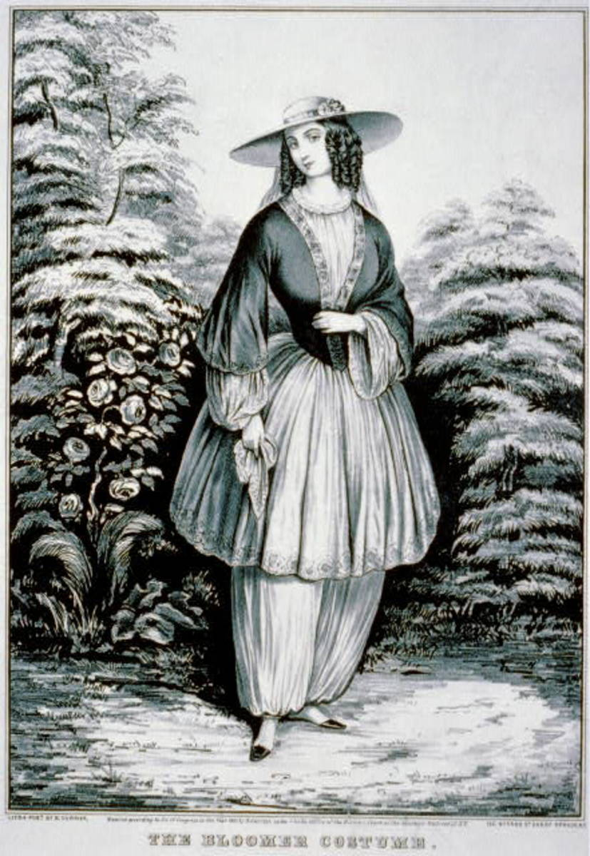 Cartoon of a woman wearing the Bloomer Costume, named after Amelia Bloomer.
