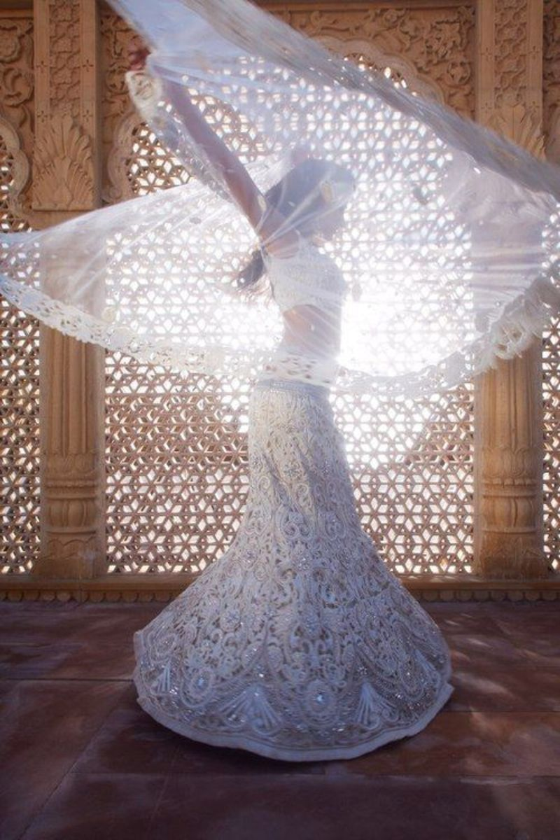 Angelic white mermaid bridal lehenga.