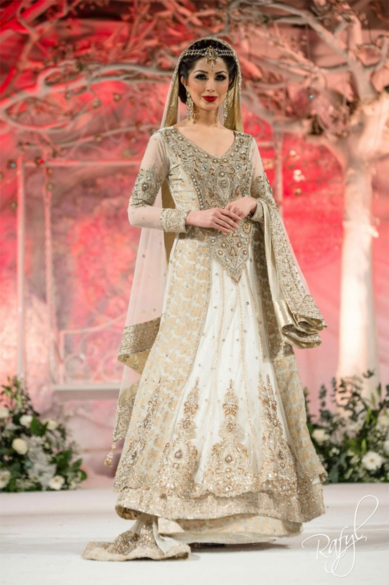 Off-white and bronze sharara for brides of Pakistan.