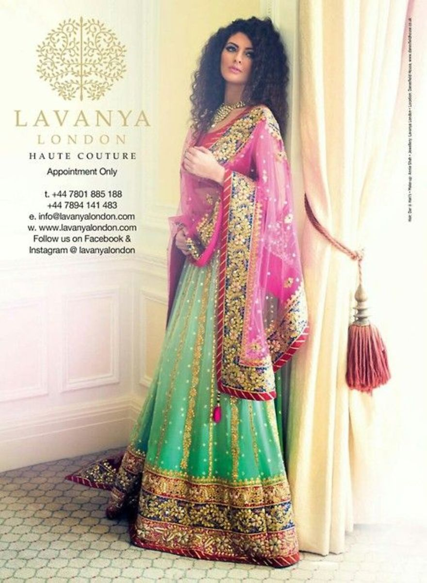 Green-and-pink lehenga