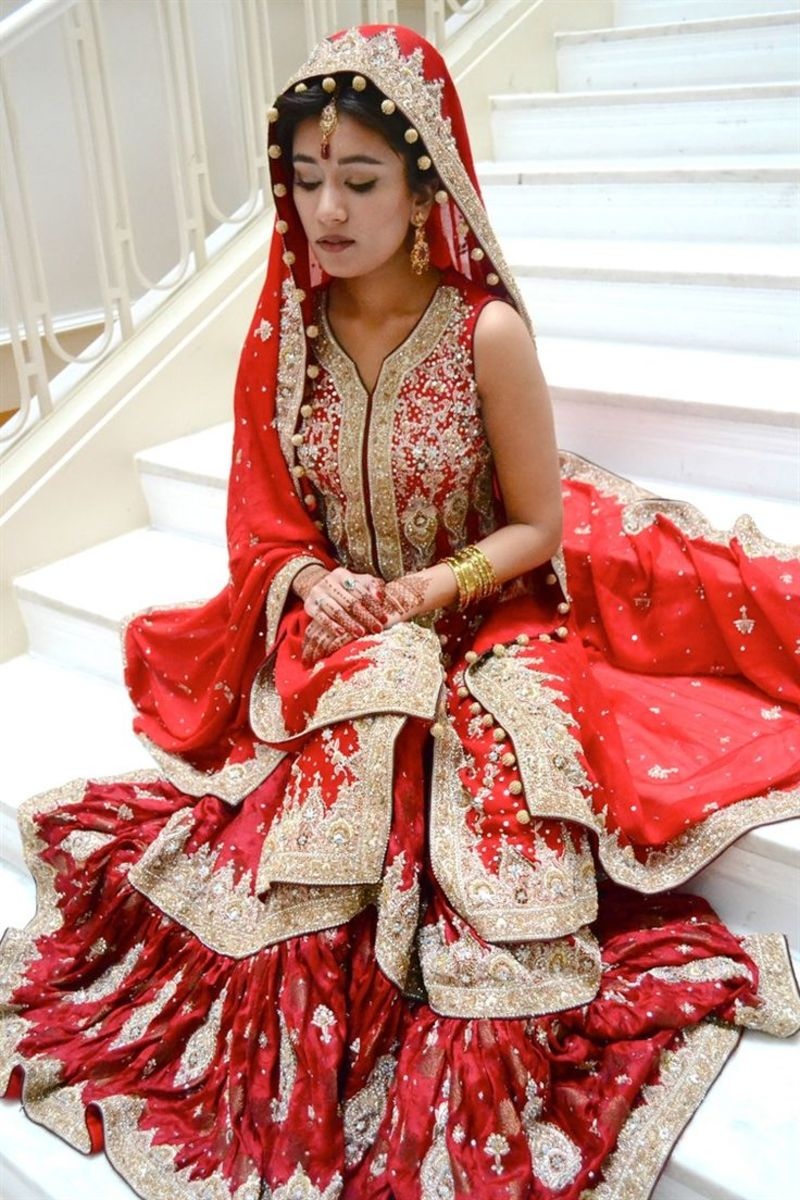Beautiful all-red bridal sharara