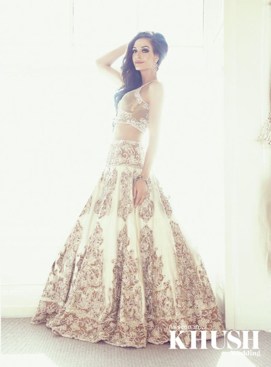 Gorgeous off-white and bronze full-skirt lehenga.