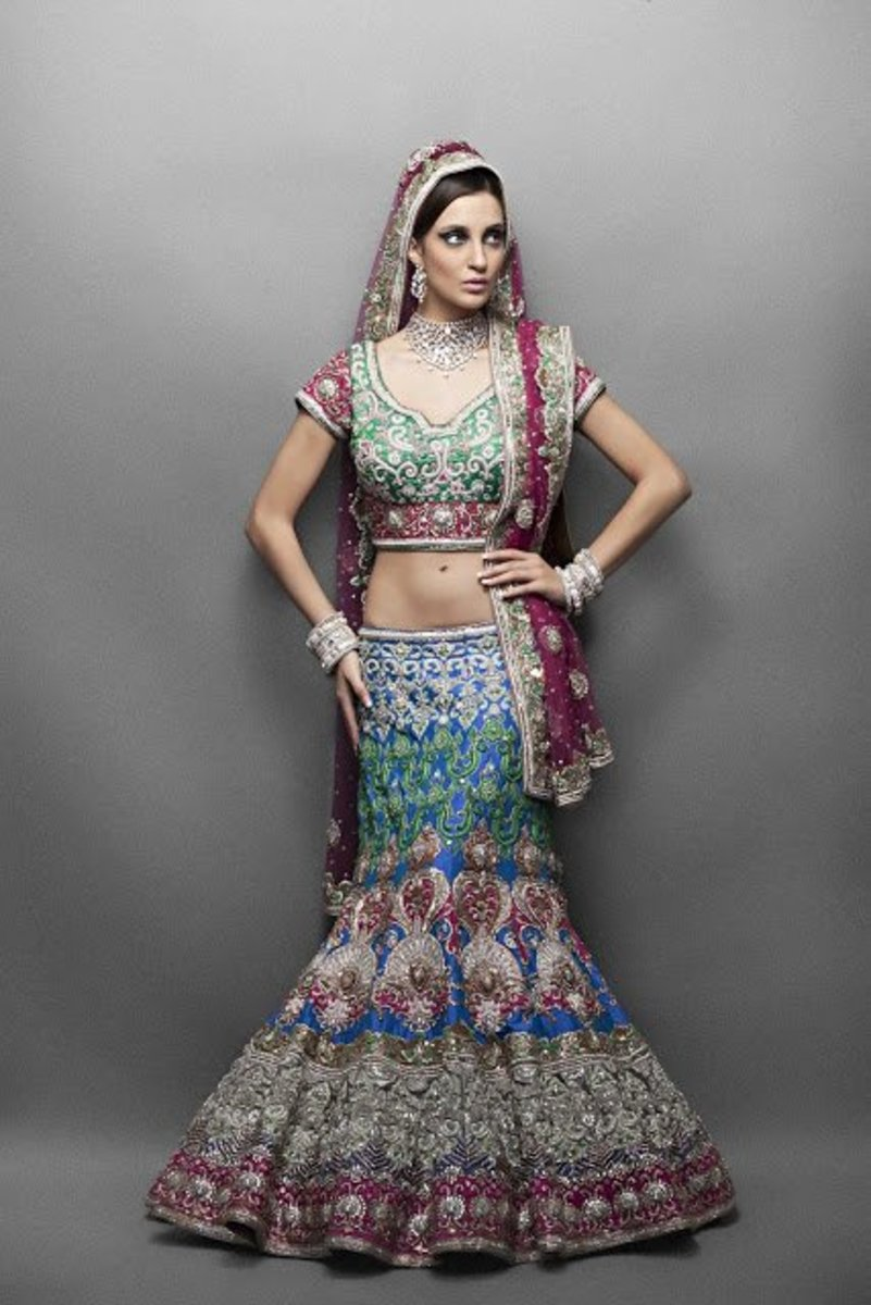 Gorgeous mermaid-style bridal lehenga in shades of green.