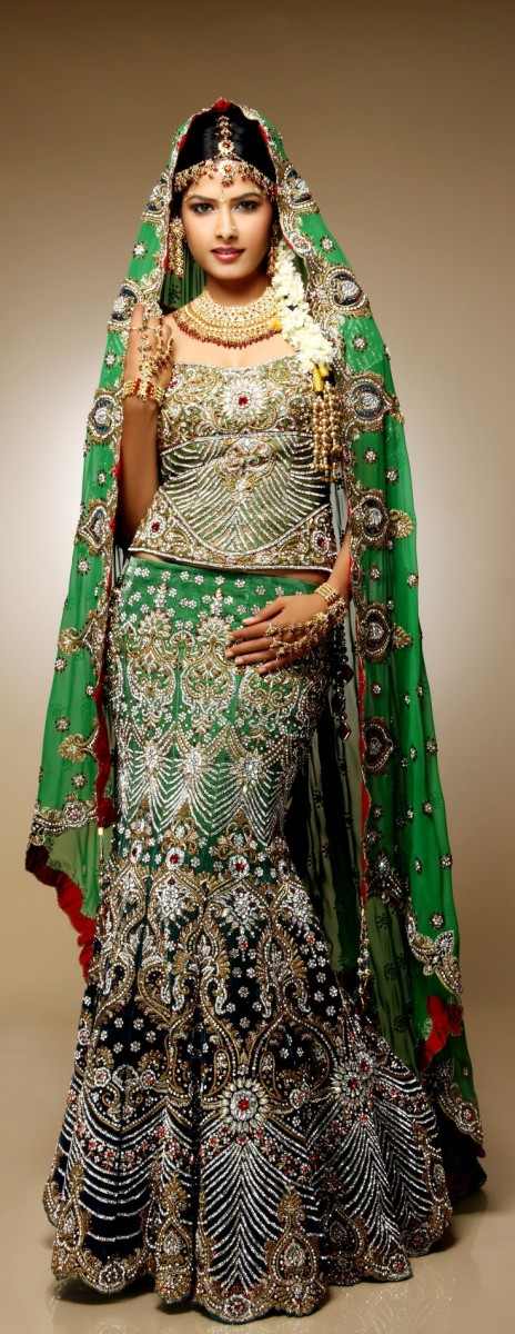 Gorgeous green mermaid (fish-cut) bridal lehenga