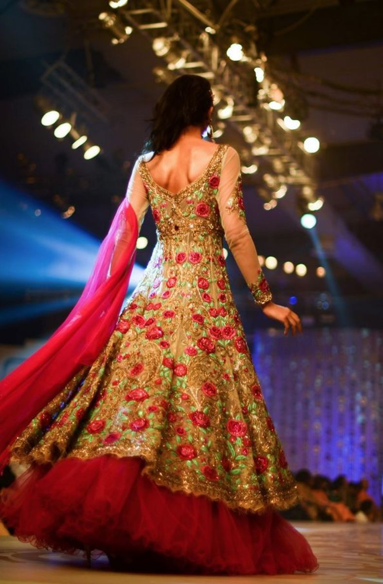 Unique fusion rose-patterned lehenga gown.