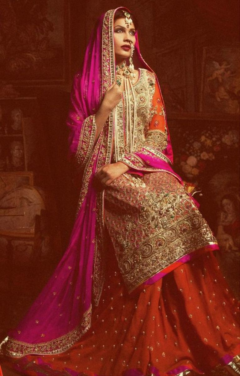Orange and hot pink bridal sharara.