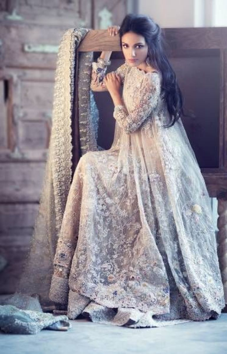 Ivory bridal dress for Pakistani brides.