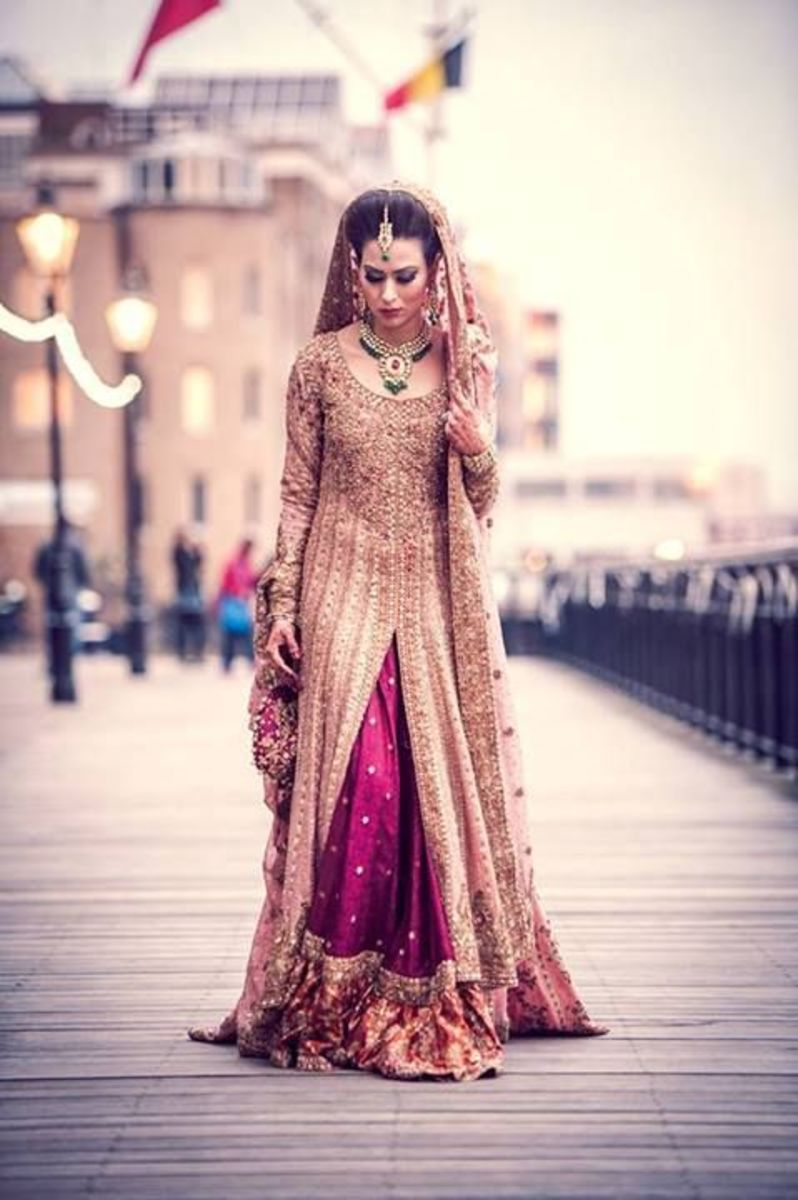 Maroon and beige bridal sharara.