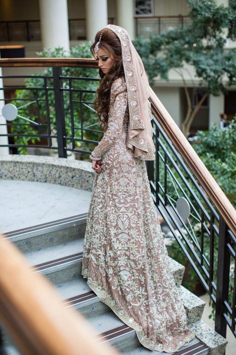 Heavily embellished wedding gown.